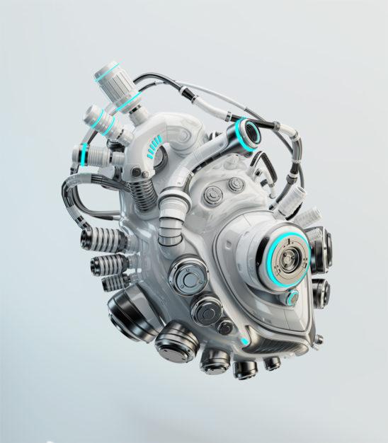 White artificial heart