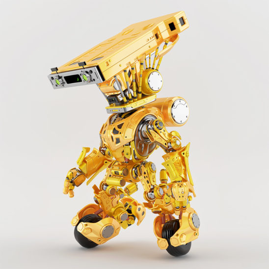 bright yellow delivery robotic concept