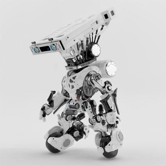 white delivery robotic unit