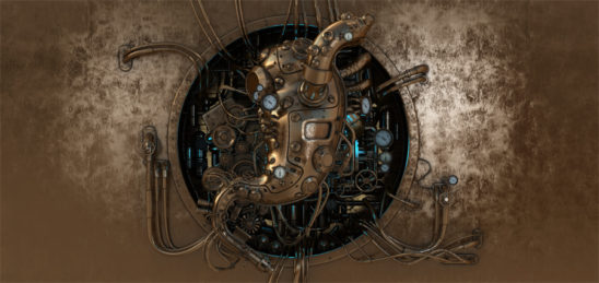 Steampunk image with stomach as main engine