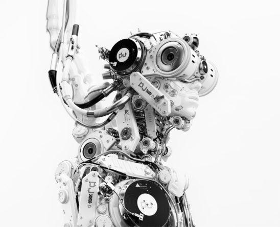 robotic DJ grayscale