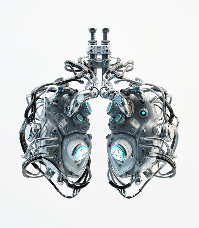 Gray futuristic lungs