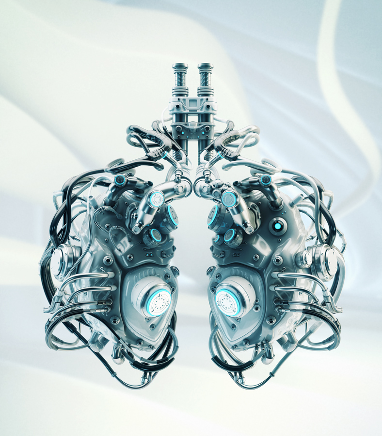 Robotic lungs on abstract back