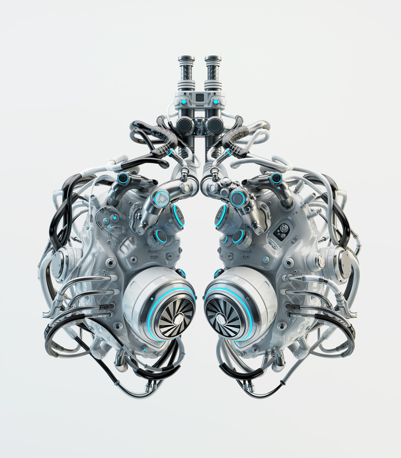 Gray robotic lungs