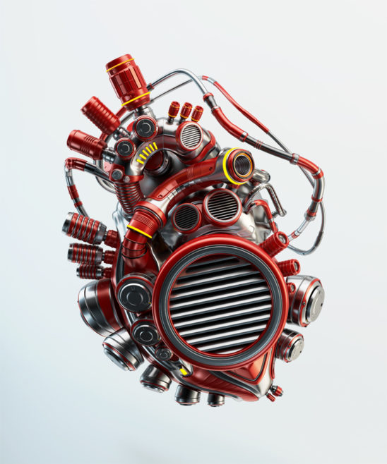 Wired red heart organ