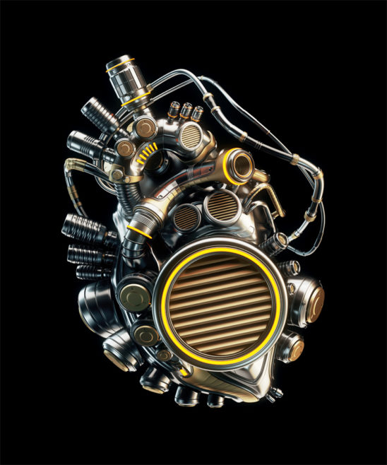 Steel robotic heart on black background