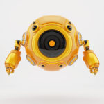 Orange robotic gadget-toy aerial diver robot
