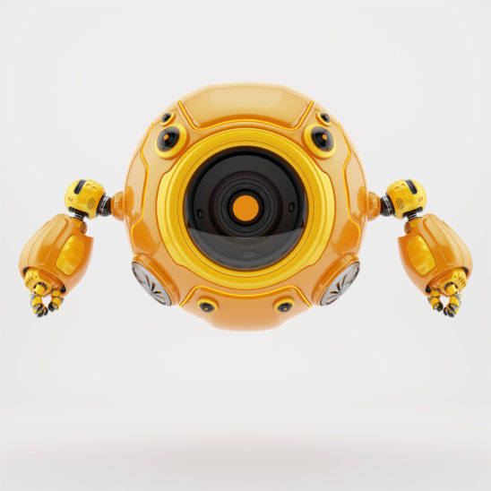 Orange robotic gadget-toy aerial diver robot