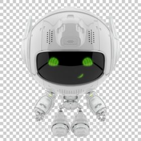 Cute white robot promoter with green digital eyes and smile
