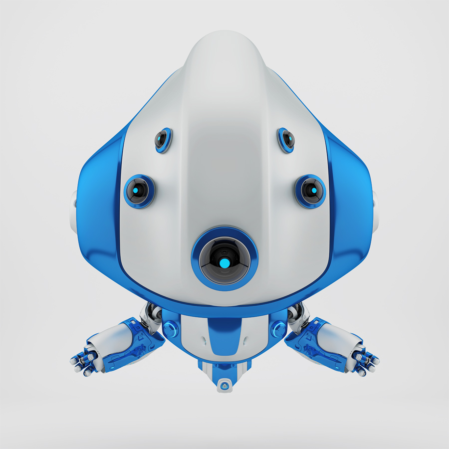 Cute silver-blue flying following robot
