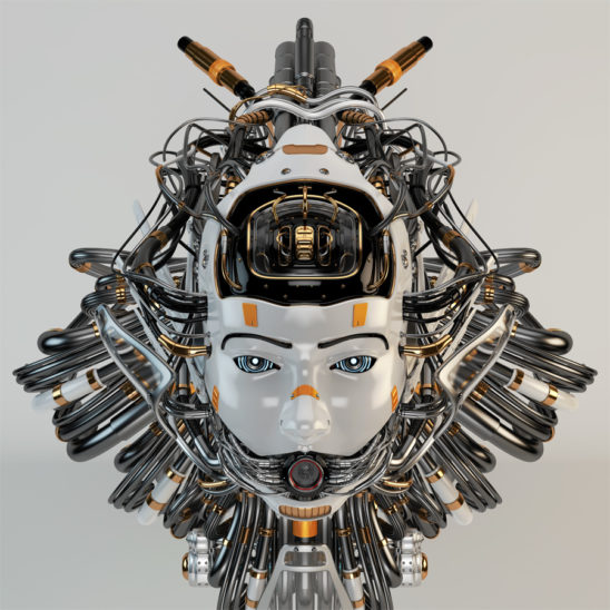 robotic girl with wired hairstyle, looking like medusa gorgon