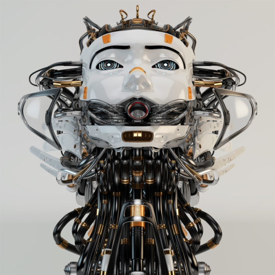 robotic girl with cables, looking like medusa gorgon