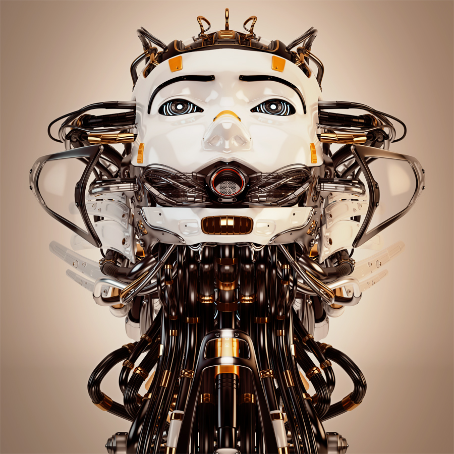 Robotic girl with cables, looking like medusa gorgon. Head up front view in sepia color style