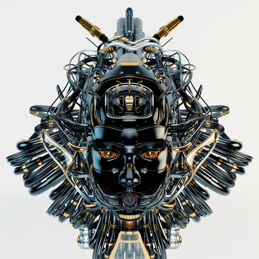 Black gorgon robot girl head