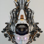 Metal medusa gorgon robotic girl's head with gap on mouth and lighted eyes in upper view
