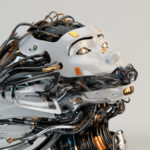 Stylish robotic girl with gap on mouth and many cables as dreadlocks. Side angle with flares