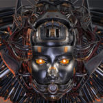 Robotic girl's head with metal face and wired hairstyle. Wide image