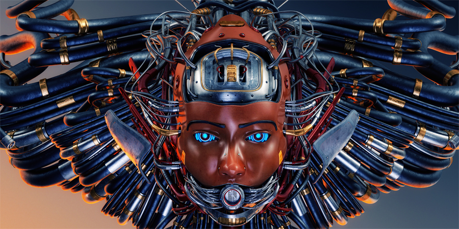 Robotic girl's head with humanoid face and wired hairstyle. Wide image