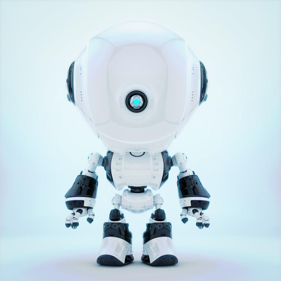 White fun bot with one eye-like camera