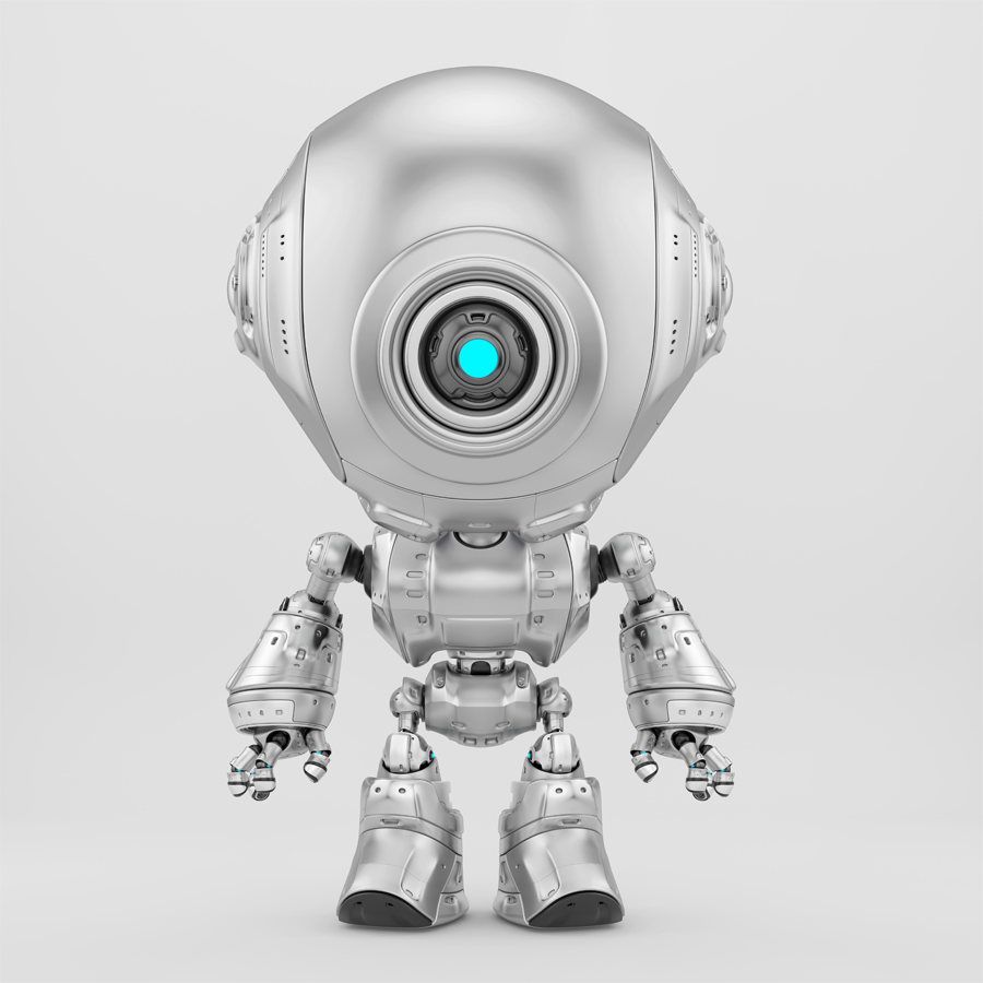 Lovely silver fun bot toy with one eye-like camera for surveillance
