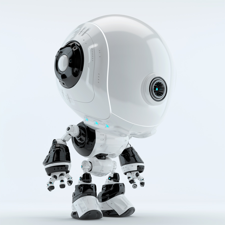 White-black fun bot in side angle