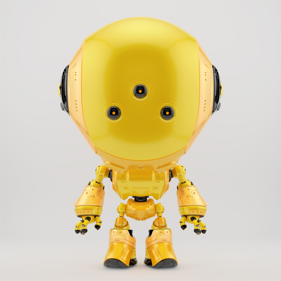 Bright yellow fun bot with three little eyes cameras
