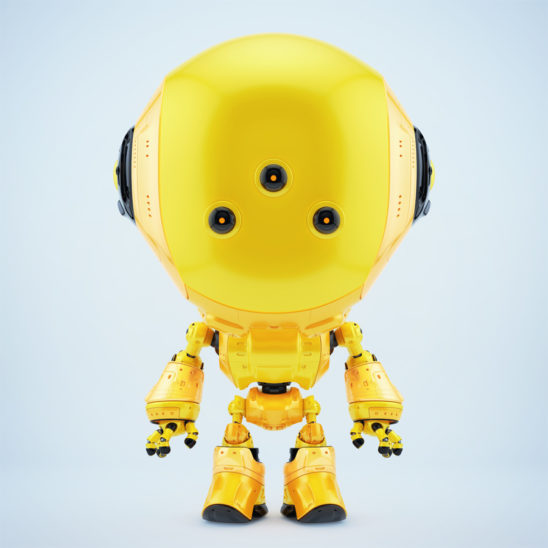 Yellow fun bot with three eyes