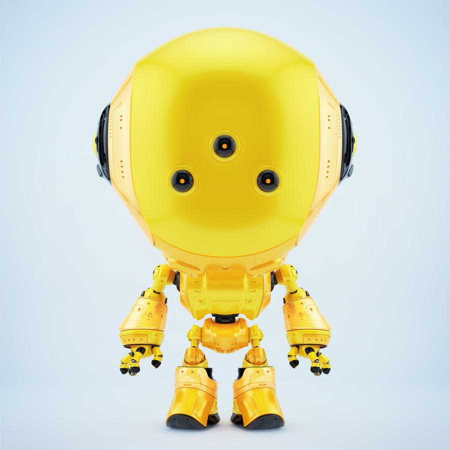 Yellow fun bot with three eyes