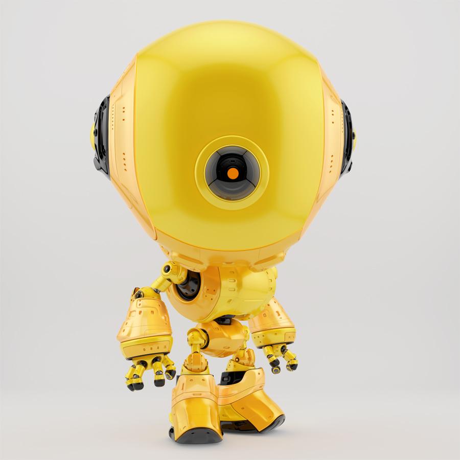 Watching yellow fun bot from side angle