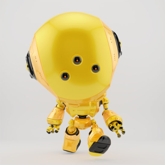 Yellow fun bot with three eyes walking