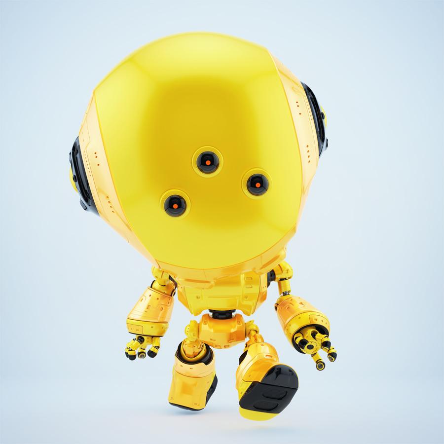 Yellow fun bot with three eyes walking