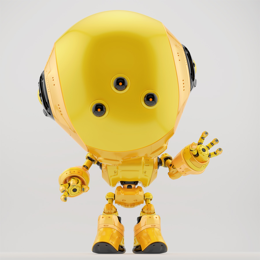 Yellow fun bot with three eyes greeting