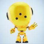 Yellow fun bot with three eyes greeting with hand