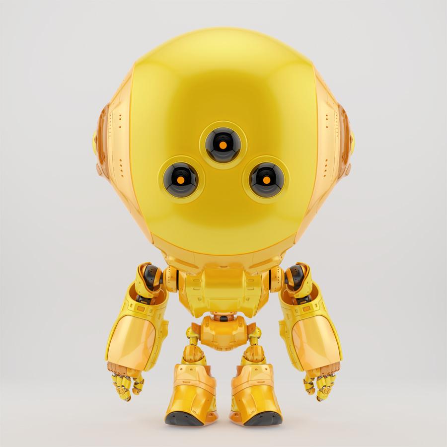 Orange fun bot with three big eyes