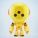 Cute orange fun bot with three big eyes in front render