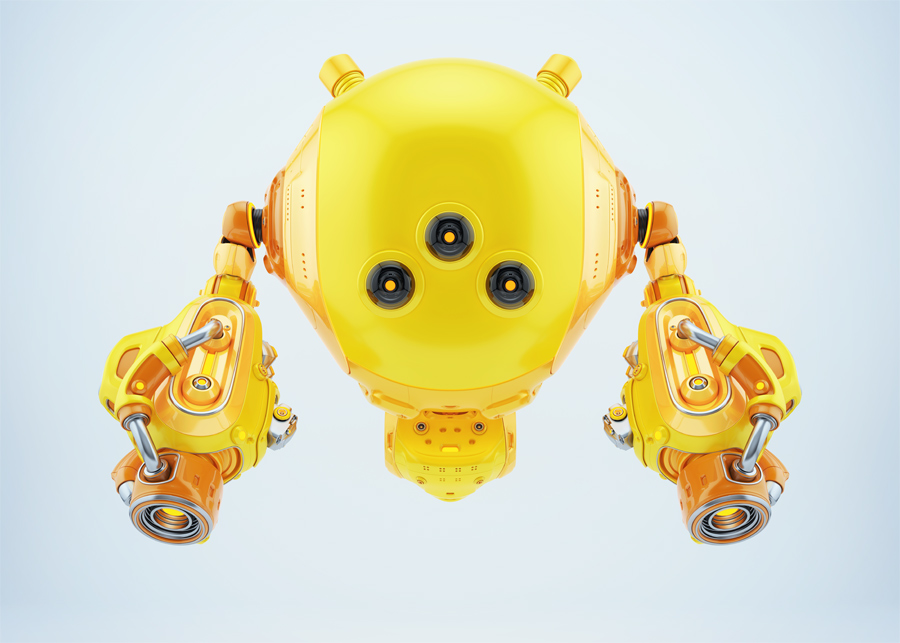 Bright yellow slogger bot with laser gun arms