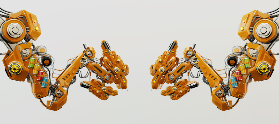 orange futuristic tattoo instruments