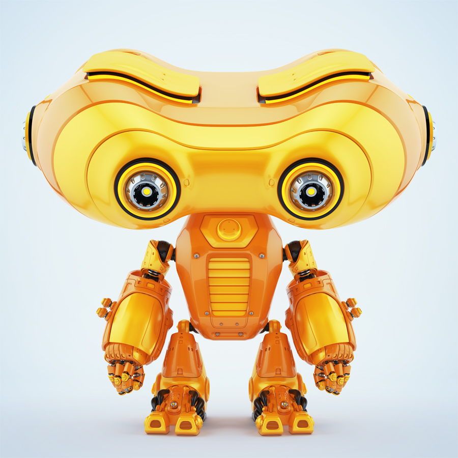 Look-see robot with head down