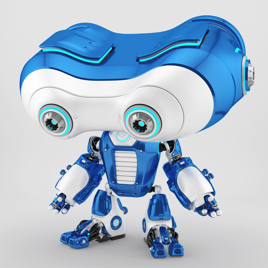 Look-see robotic character looking down. Side angle
