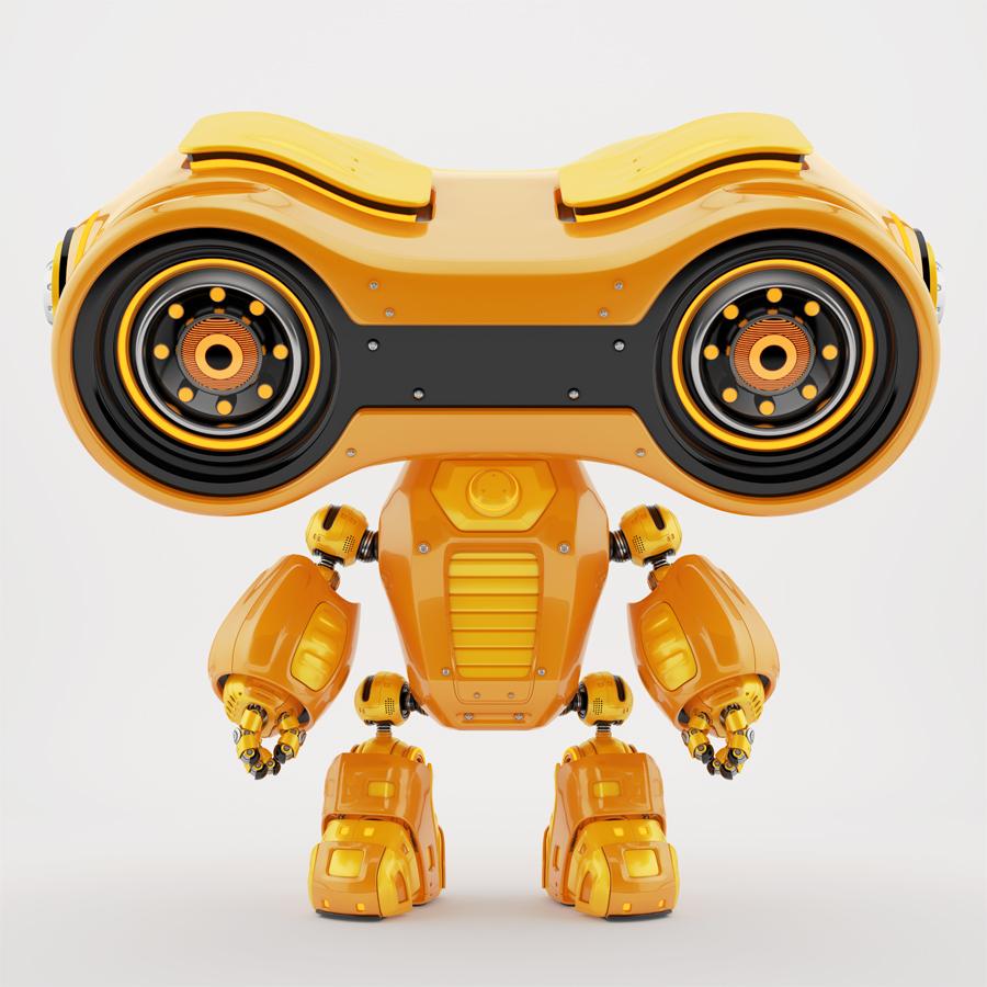 Look-see robot with big massive head