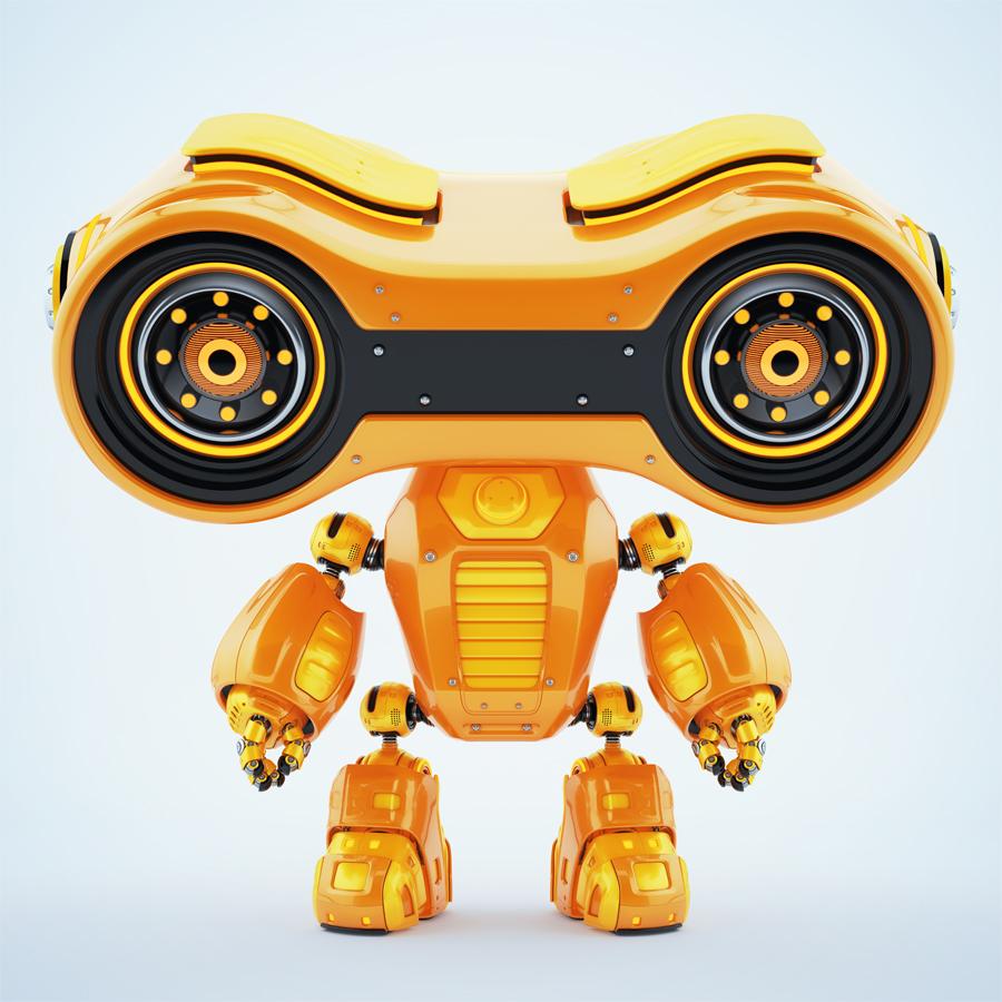 Look-see robot with huge massive head