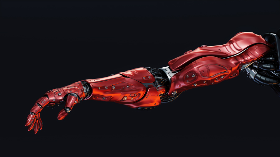 Red robotic arm