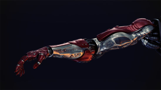 red-silver robotic arm on black background
