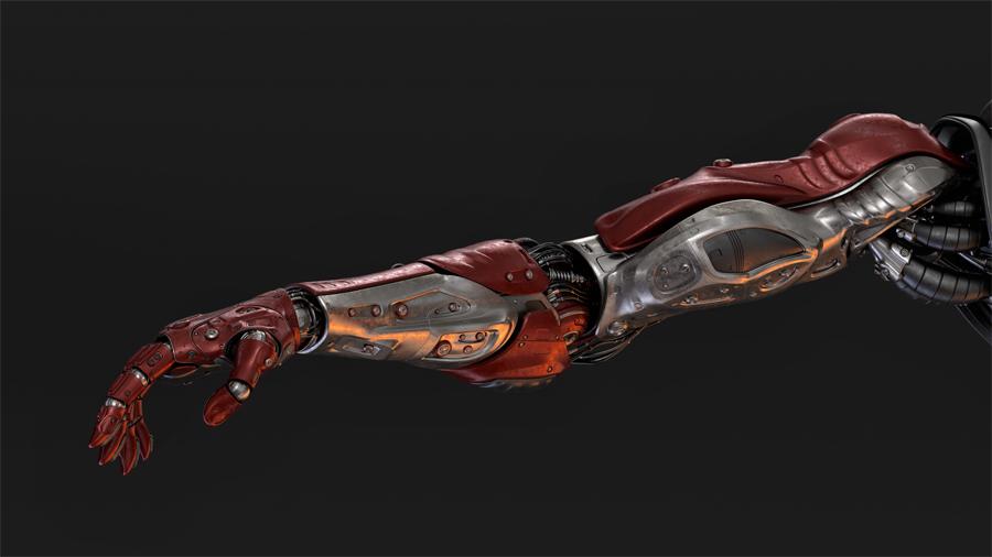red metal cyborg arm on dark background