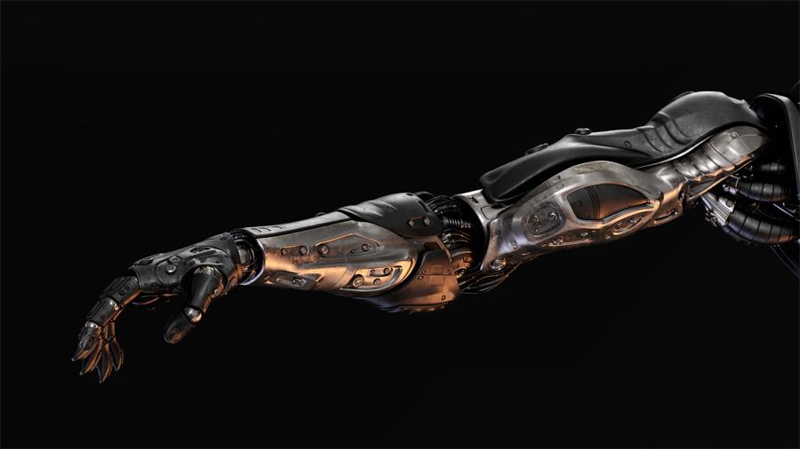 black metal cyborg arm