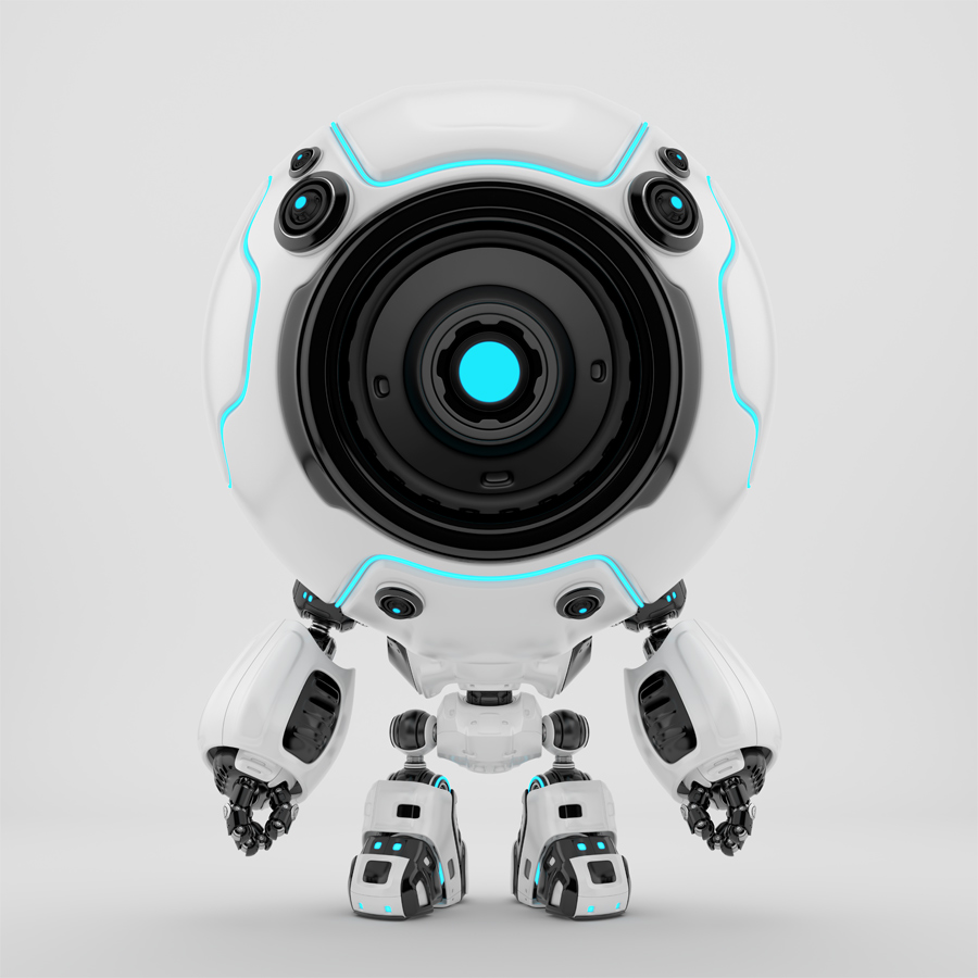 Ball shaped robotic toy - white-black diver in special suit with one eye-camera