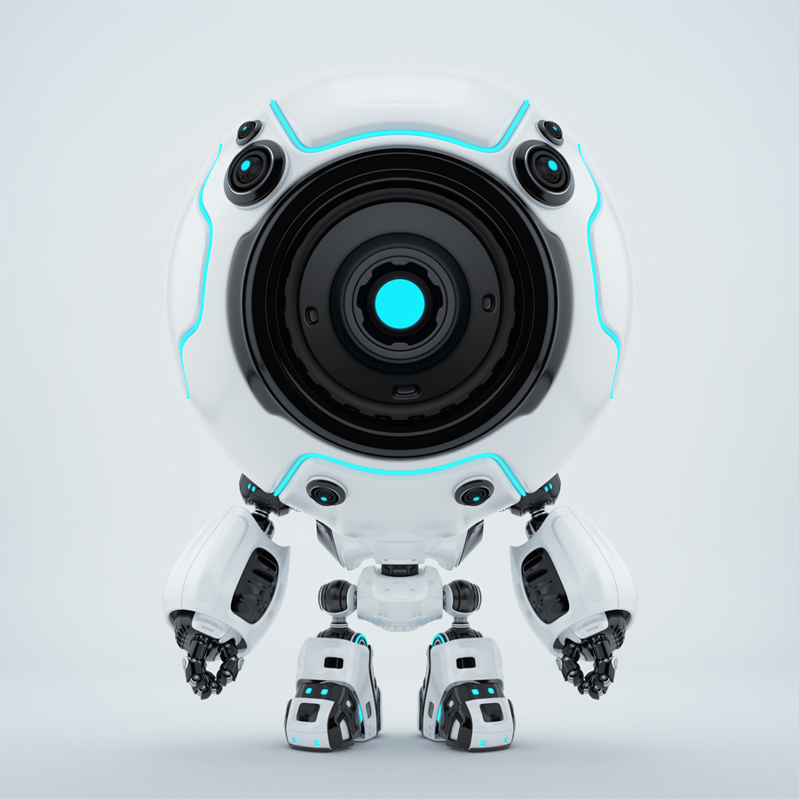 Ball shaped robotic toy - white-black diver in special suit with one eye-camera and light blue illumination