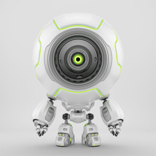 Cute white robotic toy - cyber radio-controlled diver with green illumination and one multi-functional eye