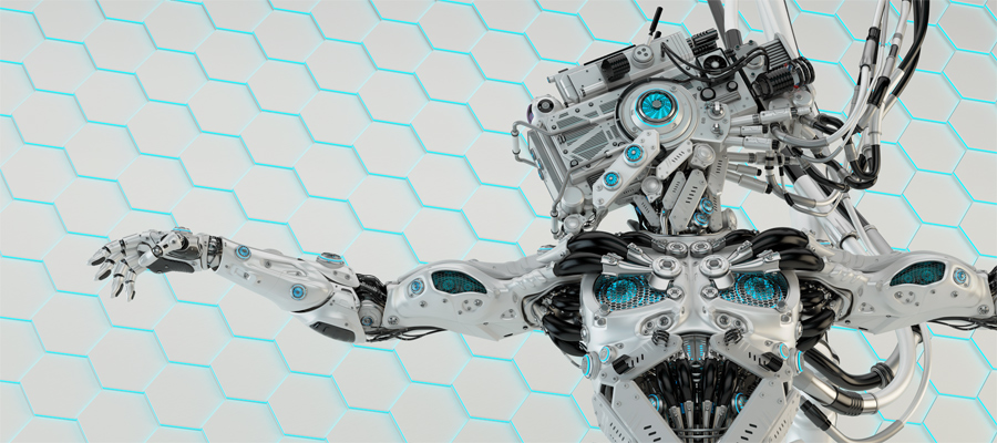 Vizor robot on light honeycomb background