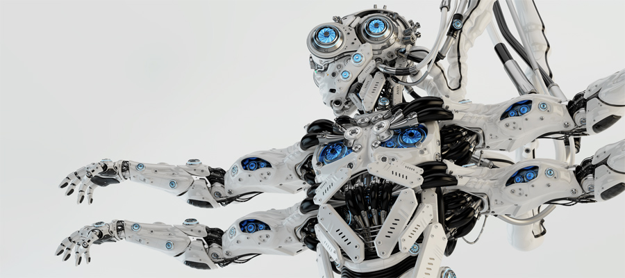 Many-armed Shiva robot with wired connection